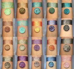 The whole collection pressed glitter eyeshadow Pressed Glitter Eyeshadow Palette, Loose Glitter Eyeshadow, Pigment Eyeshadow, Eyeshadow Makeup, Henna Designs, Unicorn Dust, Magnetic Palette, Cosmetic Grade Glitter, Loose Pigments