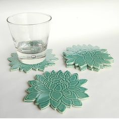 Four Flower Shape Coasters