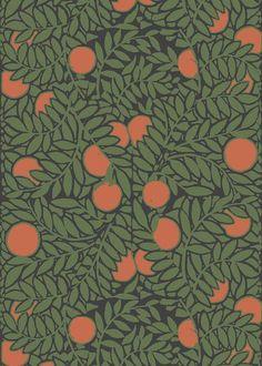 Orange Grove - Forest Green Wallpaper - MB SIGNATURE