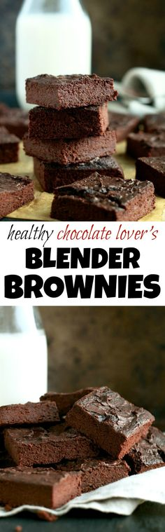 These Healthy Chocolate Lover's Blender Brownies are so fudgy, moist, and chocolatey, that you'd never be able to tell they're made with NO flour, NO butter, and NO oil!   runningwithspoons.com #vegan #paleo #glutenfree #brownies