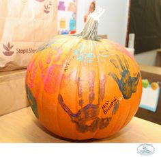 Students and Teachers in Pre-K created a Classroom Pumpkin!