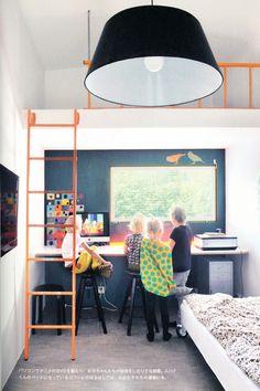 perfect small space design with built in desk, loft via rafa kids