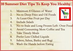 10 Summer Diet Tips To Keep You Healthy .