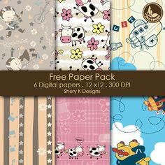 Free Scrapbooking Printable 6 Digital Papers