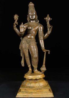 """Bronze Half Vishnu  Half Lakshmi Statue 24"""""""