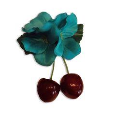 Tiki Pinup Cherries - Turquoise