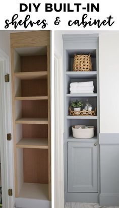 How to build built in bathroom shelves and a cabinet for your bathroom! DIY built in shelves adds both functional bathroom storage and pretty storage! A perfect small bathroom storage idea! storage DIY Built In Bathroom Shelves and Cabinet Small Bathroom Storage, Bathroom Closet, Upstairs Bathrooms, Diy Bathroom Decor, Bathroom Renos, Bathroom Interior, Small Storage, Built In Bathroom Storage, Bathroom Organization