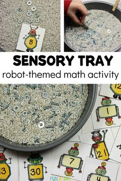 Practice one-to-one correspondence, number recognition, and number formation with a robot sensory writing tray. Free printable number cards included. Preschool Teacher Tips, Preschool Writing, Preschool Lesson Plans, Free Printable Numbers, Free Printables, Printable Cards, Sensory Bins, Sensory Activities, Sensory Play