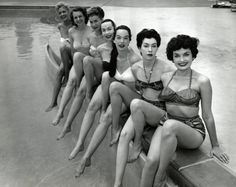 Showgirls, Dunes Hotel, Las Vegas 1955. Seven showgirls from the Dunes Hotel pose by the hotel's swimming pool soon after it's opening in 1955. Left to right: Penny Davidson, Billie Nelson, Sherry Klarke, Pat Gautier, Gloria Curtis, Pat O'Conner, Irene Rainwater.