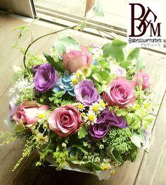 花ギフトのプレゼントBFM ブルーと紫でナチュラルに そんなフラワーアレンジメント