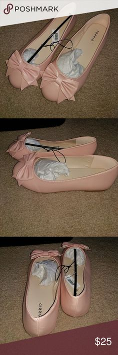 Blush Bow Round Toe Flats New with tags from Torrid wide 9.5W flats.  Cute bow on foot, beautiful blush pink. torrid Shoes Flats & Loafers
