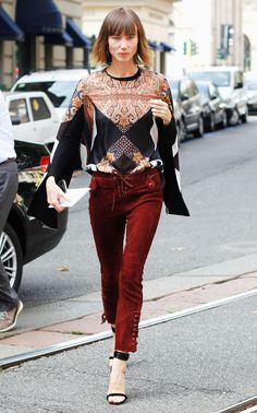 SHOP THE LOOK: Givenchy Prints  Wearing a printed Givenchy top and red Isabel marant trousers, Anya Ziourova has put together another faultless outfit