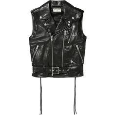 Saint Laurent Leather vest ($4,170) ❤ liked on Polyvore featuring outerwear, vests, vest, black, leather fringe vest, leather waistcoat, genuine leather vest, zipper vest and zip vest
