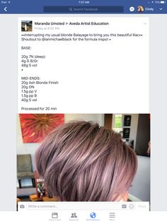 Ash Blonde, Blonde Balayage, Aveda Hair Color, Hair Color Formulas, Hair Toner, Rose Gold Hair, Fashion Colours, Hairstyles With Bangs, Cut And Color