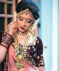 Bridal Makeup Looks, Indian Bridal Makeup, Indian Wedding Jewelry, Bride Makeup, Wedding Makeup, Bridal Hair, Bridal Jewellery, Indian Weddings, Indian Jewelry