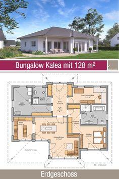 Architecture Durable, Plans Architecture, Sustainable Architecture, Bungalow Floor Plans, House Floor Plans, Bungalows, Facade House, House Facades, Ground Floor