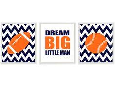 Sports Nursery Wall Art Baby Boy Football Baseball Dream Big LIttle