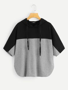 To find out about the Two Tone Curved Hem Hoodie at SHEIN, part of our latest Sweatshirts ready to shop online today! Girls Fashion Clothes, Teen Fashion Outfits, Mode Outfits, Girl Outfits, Fashion Mode, Trendy Fashion, Girl Fashion, Cute Casual Outfits, Stylish Outfits