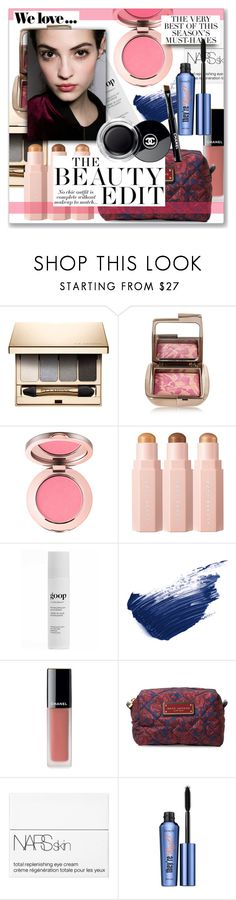 """The Beauty Edit:  October 14, 2017"" by jzanzig ❤ liked on Polyvore featuring beauty, Clarins, Hourglass Cosmetics, Juice Beauty, By Terry, Chanel, Marc Jacobs, NARS Cosmetics, Zara and Folio"