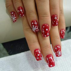 You may see the color shift on your nail art and they're pigmented. Snowflake nail art actually is a staple when we discuss holiday nail designs. Cute Christmas Nails, Xmas Nails, Red Nails, Snow Nails, Christmas Snowflakes, Red Christmas, Winter Holiday, Simple Christmas, Christmas Time