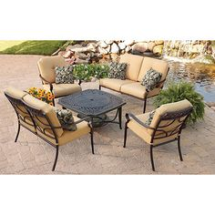 $549 This set has a fire pit that converts to a table, in addition to the 2 love seats & 2 chairs.  This matches the curved chair with ottoman that I liked.  Better Homes and Gardens Paxton Place 5-Piece Outdoor Conversation Set with Fire Pit