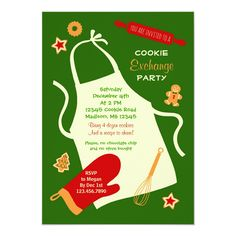 This striking invitation is ideal to host a Cookie Swap party during the holiday season. It features a big apron with a rolling pin, a mitten and a few cookies around. Festive yet stylish design. Add your own wording. Cookie Exchange Party, Christmas Cookie Exchange, Swap Party, Christmas Photo Cards, Christmas Holidays, Christmas Planning, Cookie Swap, Holiday Cookies, Party Invitations