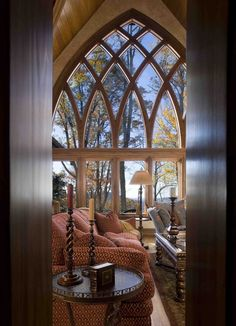 Love the cathedral like windows...  Western NC Mountain Home Great Room, Walnut Cove, Arden, NC