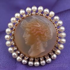 Antique 14kt Gold, Hard Stone Cameo, Seed Pearl, and Diamond Brooch.