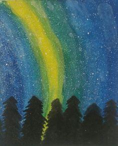 Night sky with an aurora borealis painting