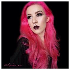 @alexandra_mua knows how to make #HotHotPink look incredible. To get dark wine lips like this, also try our #LethalLipstick in #DaughterofDarkness.