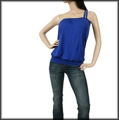New Zipper One Shoulder Blue Shirred Banded Rayon Club Top Small SM S | eBay
