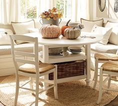 Corner Bench Seating For The Dining Room With A Round Table Rather Than A  Square Or