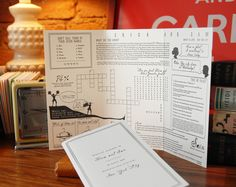 ceremony program with games, quizzes, puzzles for guests to past time while they wait- I wish I had this idea for my wedding! Fun Wedding Programs, Ceremony Programs, Wedding Games, Wedding Stationary, Diy Wedding, Wedding Planning, Dream Wedding, Wedding Invitations, Wedding Ideas