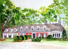 house portrait in watercolor Inspiration