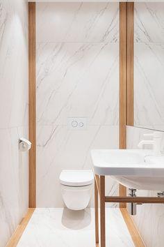 Agnes Rudzite Interiors minimalistic WC. Marble & wood Durastyle console