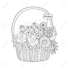 Coloring book page of flower basket for adult. Rose Basket, Flower Basket, Book Pages, Hand Drawn, Coloring Books, How To Draw Hands, Doodles, Valentines, Drawings