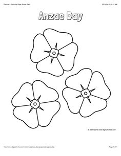 Anzac Day coloring page with a picture of 3 poppies to color