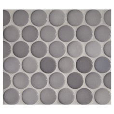 "Complete Tile Collection Penny Round Mosaic - Diamante Gris - Gloss, 1"" Round Glazed Porcelain Penny Mosaic Tile, Anti-Microbial, Anti-Odor,..."