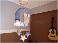 The wise owl, Mobile crib, baby room decoration by AriadnesThreadWkshop on Etsy