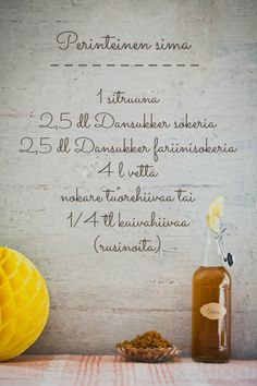 Sima ohje Mead, Desert Recipes, Mojito, Happy Holidays, Deserts, Food And Drink, Cooking Recipes, Place Card Holders, Party
