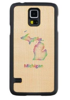 Rainbow Michigan map Maple Galaxy S5 Case $49.65 *** Rainbow Michigan state map from multicolored curved lines - Samsung Galaxy S5 wood case