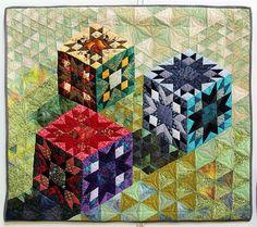 Traditional Cubes in a Row | Marja Vocht uit Deurne. Quiltersgilde (Netherlands). Algemene Tentoonstelling 2013 exhibit.