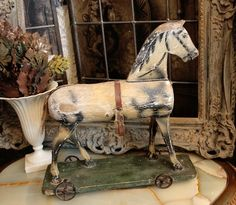 French Handpainted Antique Horse Pull Toy