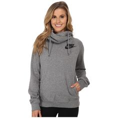 Nike Rally Funnel Neck Hoodie Women's Sweatshirt ($65) ❤ liked on Polyvore featuring tops, hoodies, hoodie pullover, pullover hoodies, long hoodie, sweatshirts hoodies and pullover hooded sweatshirt