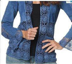 DIY Comment coudre un Kimono en 1 heure - Her Crochet Crochet Coat, Crochet Fabric, Crochet Quilt, Crochet Jacket, Crochet Cardigan, Crochet Clothes, Diy Clothes, Crochet Patterns, Lace Jacket