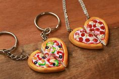 A pair of pizza heart keychains or necklaces to show you love your BFF over ~olive~ the other people out there. 28 Things You'll Want To Share With Your Best Friend Bff Necklaces, Best Friend Necklaces, Best Friend Jewelry, Friendship Necklaces, Polymer Clay Miniatures, Polymer Clay Charms, Polymer Clay Jewelry, Candy Jewelry, Cute Jewelry
