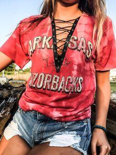 Collegiate Lace, Vintage Collegiate, Shirt Arkansas, Arkansas Razorbacks, Tailgate Season, Grommet Trim, Lace Up, T Shirts