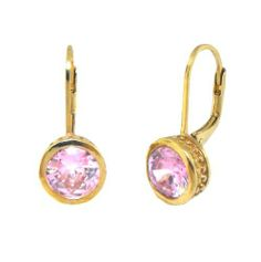 Sterling Silver 925 Yellow Gold Plated Beautiful Simple Design With Sparkling Pink CZ Lever Back Earrings Sterling Silverado. $18.99. Genuine Sterling Silver. Model #105259-C. High Shine Finish. Sparkling Pink CZ. Yellow Gold Plated