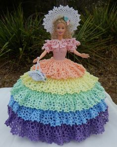 Barbie doll crochet southern belle gown