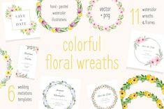 Floral watercolor wreaths collection by Crocus Paperi on @creativemarket